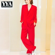 OL Style Red Wide Leg Pant & Single Button Slim Blazer Jacket Two Piece Set Women 2019 New Luxury Runway Office Pant Suit Female
