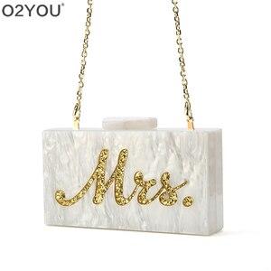 Image 4 - Mode Angepasst Acryl Box Kupplungen Dame Strand Party Handtasche Perle Weiß Mit Silber Glitter Oder Gold Glitter Name Mrs Brief
