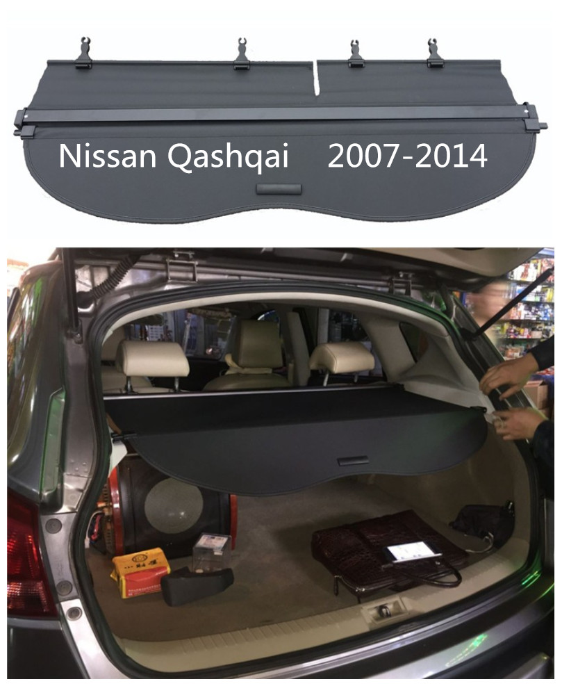 For nissan qashqai 2007 2014 rear trunk security shield cargo cover high quality car trunk