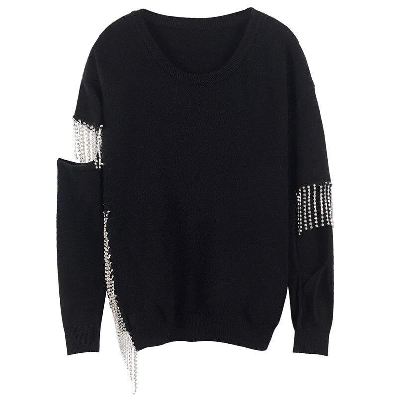 Pull 2018 Automne Femmes Chandails Gland Évider Wang Hiver noir Daimonds Streetwear Whitney Femme Mode Beige 13KlTFJc