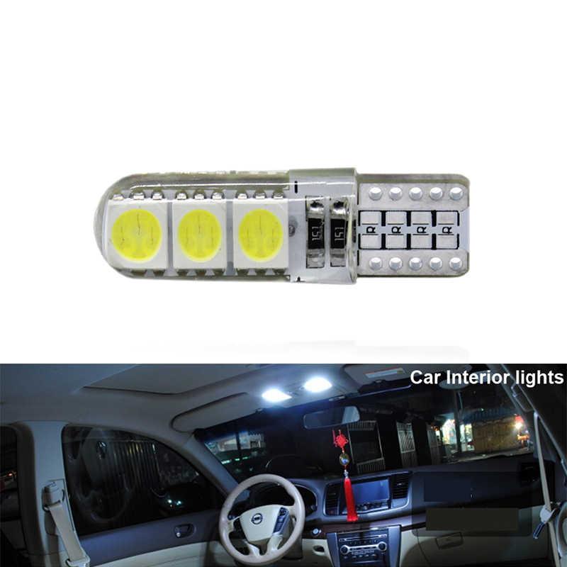 1x T10 W5W żarówka led samochodowa włączony kierunkowskaz wnętrze auta lampa kopułowa do czytania tablicy rejestracyjnej Wedge Side Super jasna biała 12V 6SMD
