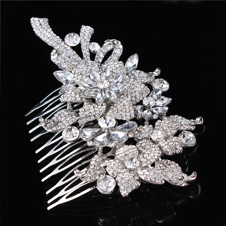 Luxury Bridal Hair accessories Wedding Flower Hair Comb Bridal Rhinestone Crystal Bridesmaid Hair Jewelry in Hair Jewelry from Jewelry Accessories
