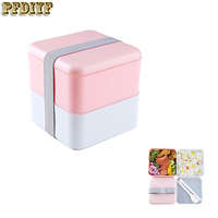 New Portable 2 Layer Lunchbox High Quality Japanese Bento Lunch Boxs Leak-Proof Insulated Food Container Lunchbox Microwave Safe