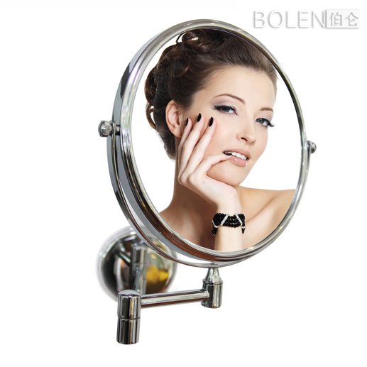 "Mirror  8"" Chrome finish Stainless Steel Frame And Silver Mirror   Magnify bathroom beauty makeup"