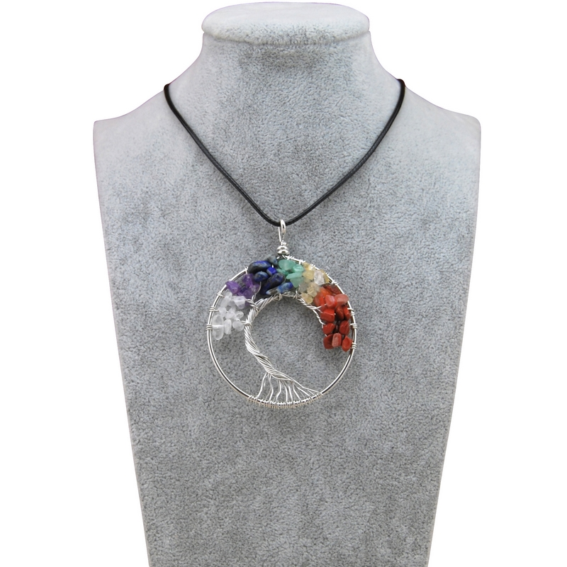 New Rainbow Chakra Amethyst Tree Of Life Quartz Pendant Necklace For Women