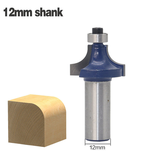 1pc 12mm Shank Two Flute Carbide Corner Round Over Edging Router Bit With Ball Bearing Tungsten Milling Cutters For Wood