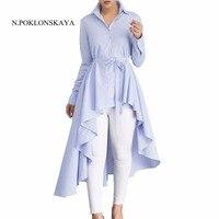 Newest Autumn Winter Women Shirt Dress Lady Long Sleeve Stripe Dovetail Party Dresses Elegant Asymmetric Vestido