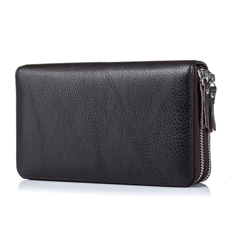 100% Cow Genuine Leather Large Capacity Long Wallet Double Zipper Clutch Business Men Wallet for Boss Manager Large Note Holder brand double zipper genuine leather men wallets with phone bag vintage long clutch male purses large capacity new men s wallets