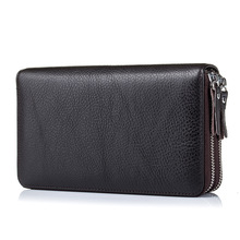 100% Cow Genuine Leather Large Capacity Long Wallet Double Zipper Clutch Business Men Wallet for Boss Manager Large Note Holder