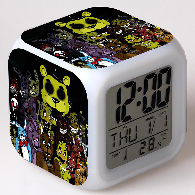 FNAF Freddy Anime Figurines Toys PVC Alarm Clock Colorful Flash Light Five Nights At Freddys Bear Desk Decoration Juguete