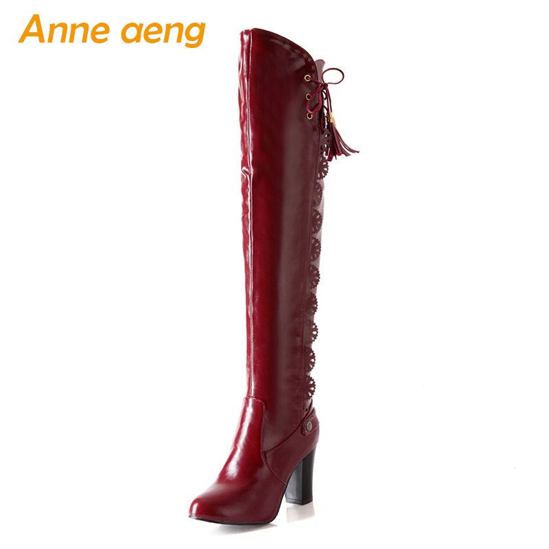 2019 new winter women over-the-knee boots warm plush lining high heels ladies sexy boots wine red women shoes big size 33-43 annymoli women boots winter platform extreme high heels boots sexy fashion boots red bridal wedding party shoes big size 33 43