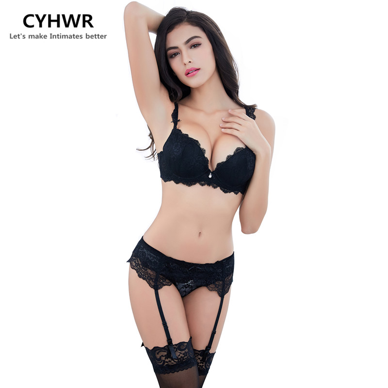 CYHWR bra gather brand lady lingerie sexy adjust bra set bra+panty+garter belt +stocking 4pieces/lots