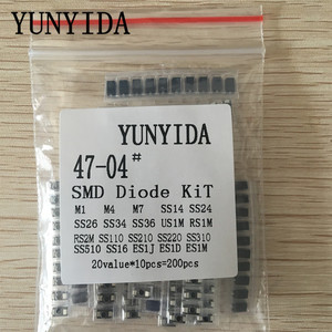 200pcs/lot SMD diode Assorted Kit 20value*10PCS contains SS110 SS220 SS210 SS310 SS510 SS16 SS26 SS34 SS36 ES1J ES1D M7 M4 US1M