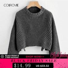 41c5c7d13 COLROVIE Split Solid Korean Elegant Crop Grey Sweater Women Tops 2018  Fashion Pullover Long Sleeve Winter