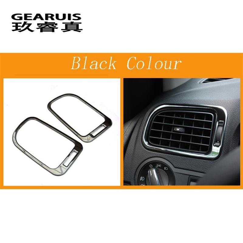 Автомобильный Стайлинг для Volkswagen vw POLO, накладка, аксессуары для интерьера, кондиционер, на выходе, декоративная крышка, наклейка, авто аксессуары - Название цвета: Black