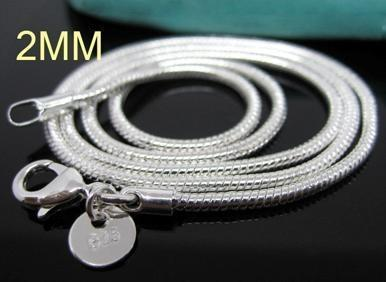 C008 Hot Chain 2 MM Slim Top Quality S925 Stamped Silver color Snake Chain Jewelry Findings 16