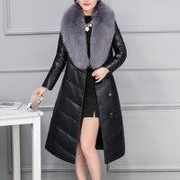Пояса из натуральной кожи куртка Для женщин зима Природный Фокс Мех животных пальто женский натуральная кожа куртка Леди Одежда высшего ка