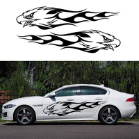 Two Flame Eagle Hawk Head Mirroring Decor Decal Vinyl Door Body Car Sticker JDM Euro Import