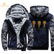 2019 Winter Superhero Baby Groot I Am Thick Hoodies Men Warm Fleece Sportswear Plus Size Sweatshirts Anime Mens Jackets