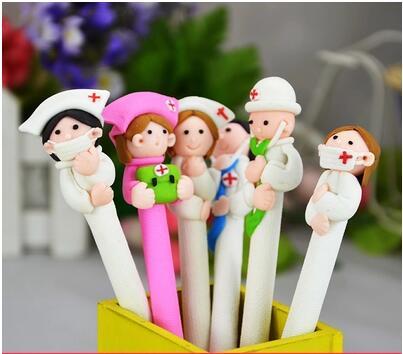30pcs/lot polymer clay cartoon cute doctor nurse gift ballpoint pen creative stationerylovely prizes