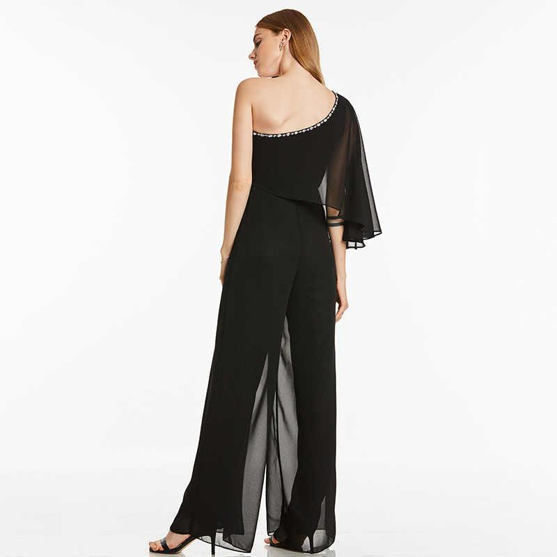 Tanpell одно плечо вечернее платье, пикантное черное ТРАПЕЦИЕВИДНОЕ ПЛАТЬЕ длиной до пола женское вышитый бисером шифоновое длинное открытая спина комбинезон вечернее платье