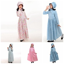 ФОТО vintage kids medieval costume girls holidays carnival party floral dress with hat outfits