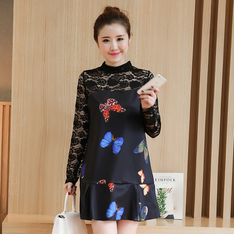 4 Color Lace Stitching Maternity Dress Fashion Print Maternity Clothes 2017 Autumn Plus Size Pregnancy Clothing for Pregnant
