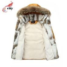 Natural Rabbit Fur Liner Woman Man Couple Down Parkas ,2016 New Fur Hooded Thick Cotton Coat ,Super Warm Winter Jackets