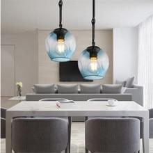 Kitche Pendant Lights Gradual Blue Glass Lighting Fixtures Room Hotel Modern Light Bar Home Ceiling Lamp