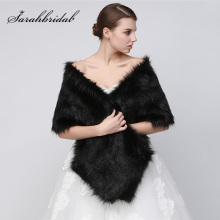 Hot Sale Winter Warm Wedding Jacket Black White Faux Fur Bridal Wraps Shawls Cheap Wedding Accessories In Stock 17005
