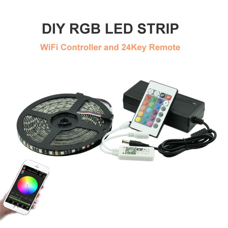 RGB LED Strip Light 5050SMD Flexible Light LED Tape Lamp 5M DC12V LED Strip Power Supply 5A IR Remote and Phone WiFi Controller