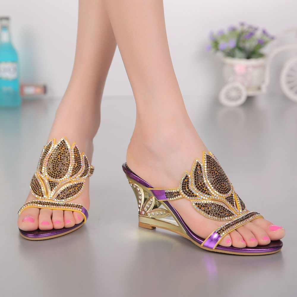 In the summer of 2017, high-end water drill women's slippers, women's new fashion flower high heels evening party wedding shoes high druid of shannara straken
