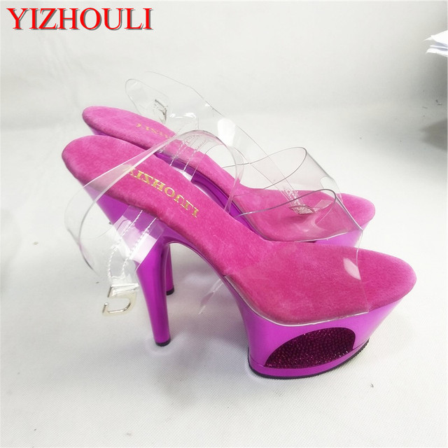 17cm sexy super high heels, new performance crystal ladies stage fashion show Sandals, hollow-out waterproof platform
