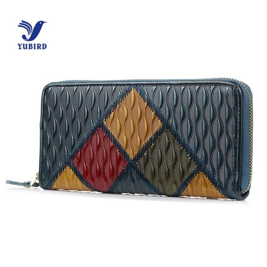 0363e51a2202 Yubird бренд Модные женские туфли кошелек Лоскутная Пояса из натуральной  кожи дамы сцепления Винтаж Длинный кошелек