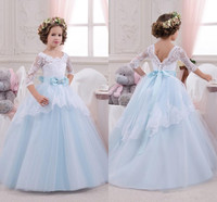 Cute Sheer Neck Flower Girl Dresses For Weddings Appliques Ruffles with Ribbon Ball Gowns Girl Pageant Gowns Birthday Dress