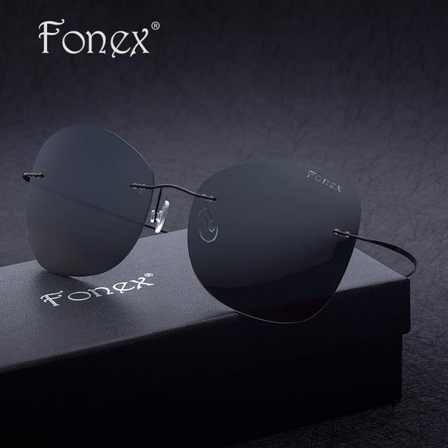 Fonex sunglasses 2017 new men cool titanium sin rebordes gafas de sol mujeres diseñador de la marca de gran tamaño ultra-ligero gafas de sol polarizadas
