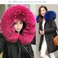 Grande de lujo genuina piel de mapache verdadero abrigo de plumón de pato para las mujeres parkas chaqueta con capucha de las señoras de Corea de la manera dulces colores xxxl