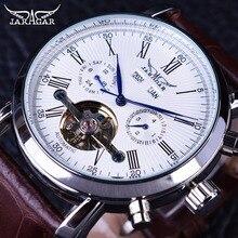Jaragar tourbillion calendario completo display de cuero marrón moda vestido casual para hombre mecánico automático reloj superior de la marca de lujo