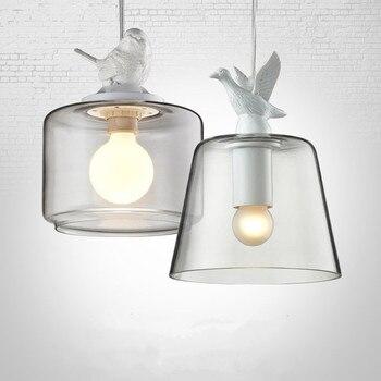 Nordic Creative Restaurant Pendant Light; Single glass bird Pendant Lamp nordic vintage pastoral bird glass lamp wroungh iron pendant light for restaurant inner coffee bar decorative fixture