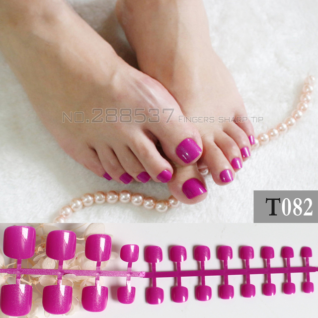 2017 French Show Cute Candy Fake Toenails Toes Simple Purple Short T082