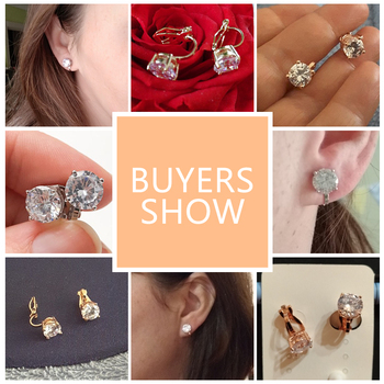 Clip Earrings Crystal Fashion Womens Jewelry  1
