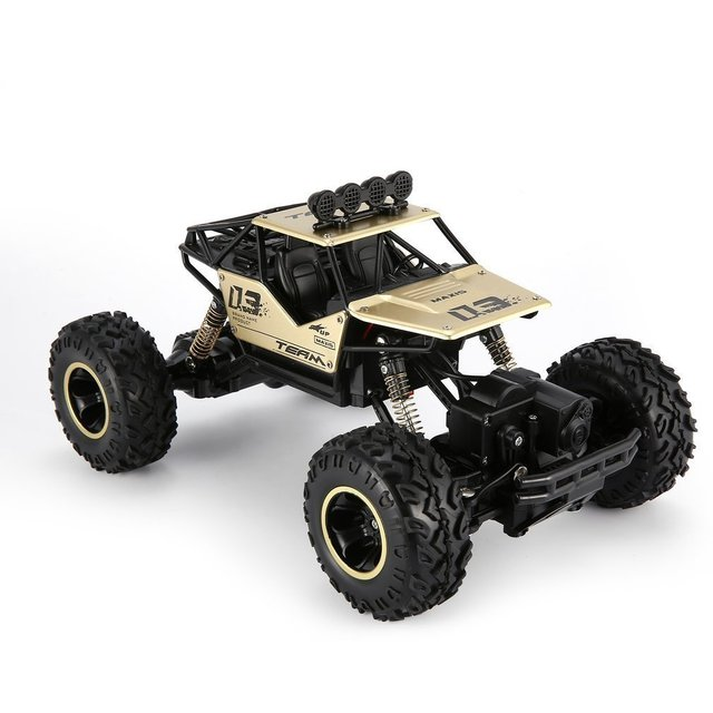 1/16 2.4GHz Alloy Body Shell Rock Crawler 4WD Double Motors Off-road Remote Control Gold RC  Bigfoot Climbing Car Vehicle Toys
