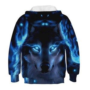 Image 2 - 3D Drucken Wolf Mädchen Jungen Hoodies Mantel Teens Herbst Oberbekleidung Kinder Kleidung 8 10 12 Jahre Mit Kapuze Sweatshirt Langarm pullover