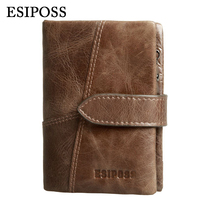 Genuine Leather Vintage Men Wallets Famous Brand High Quality Hasp Design Male Wallet With Card Holder