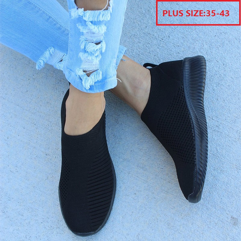 Autumn Shoes Women Sneakers Casual Knitting Loafers Sock Shoes Female Stretch Flat Platform Slip On Ladies Walking Plus Size