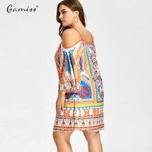Mini Cold Shoulder Tribal Print Women Plus Size Dress 3/4 Length Sleeves Maxi Dress Spaghetti Strap Dress