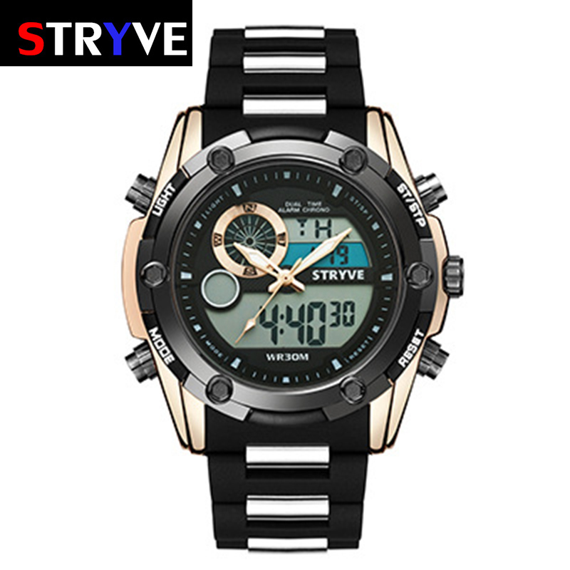 Mens Digital Watches Fashion Sport Fitness Military Watch Men Waterproof Double Movement Watch Men Multiple Time Zone Alarm