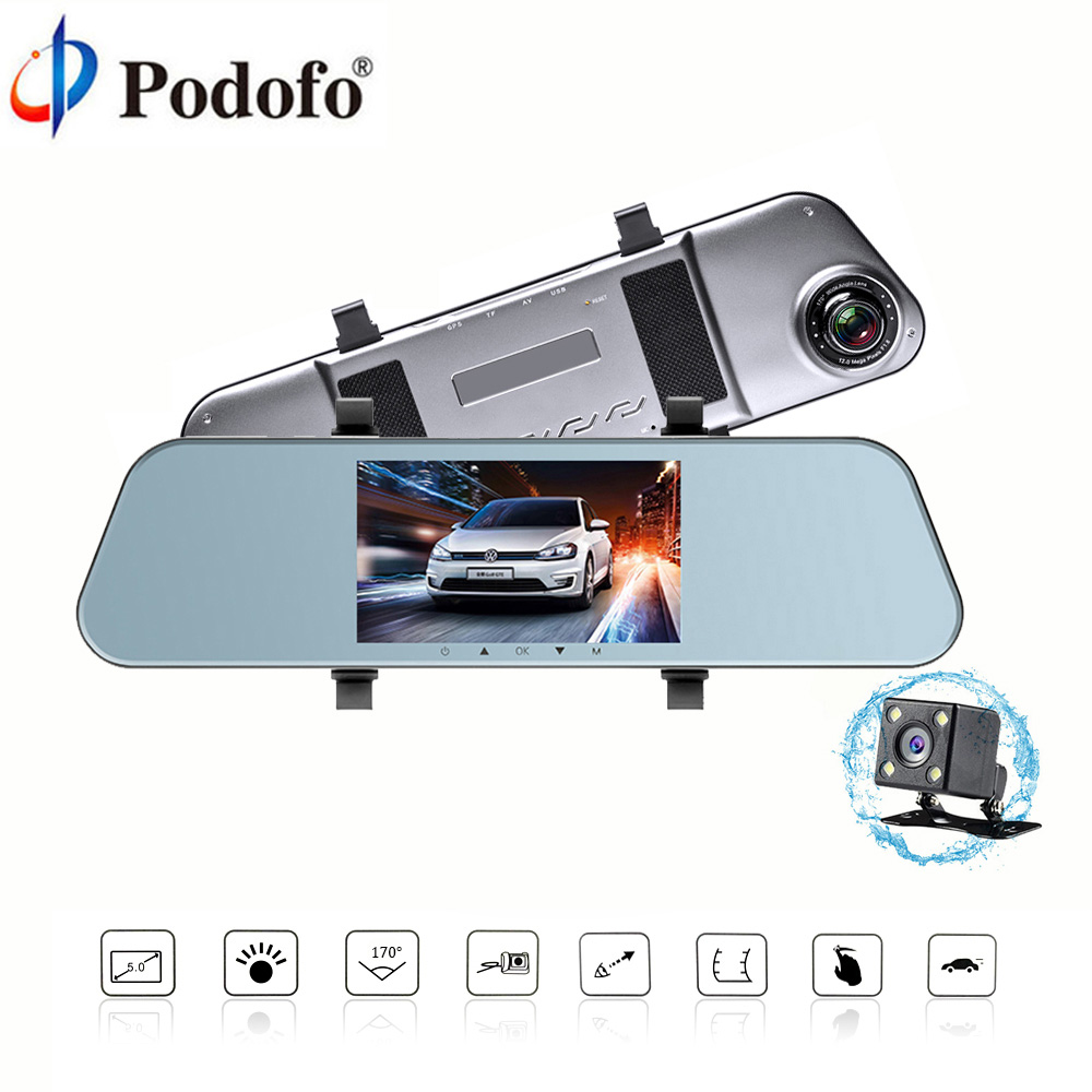 Podofo Car Dvr Auto 5 Full HD 1080P Rearview Mirror Digital Video Recorder Dual Lens Registratory