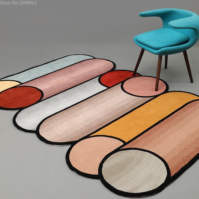 Креативная индивидуальность 100% акриловые ручные ковры геометрический дизайн Скандинавская гостиная Настольный коврик для чая ковры для гостиной