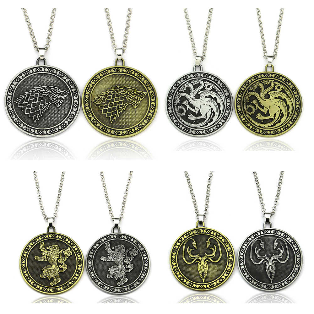 Hot TV Series Game Of Thrones Pendant Necklace Metal Alloy House Stark Targaryen Lannister Baratheon Logo Statement Jewelry Gift